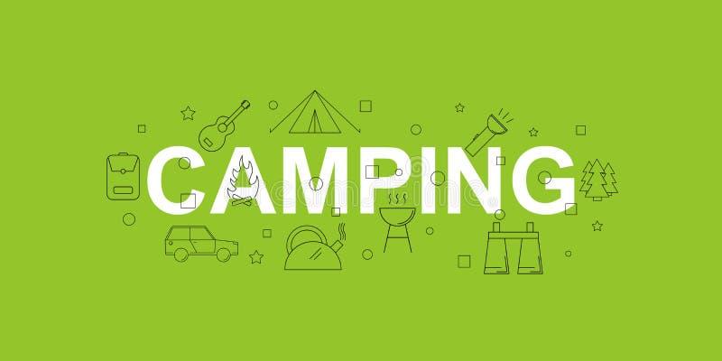 野营的横幅 与线象的词 向量背景 向量例证