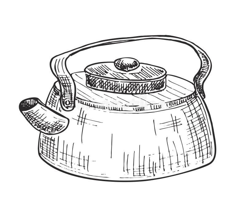 野营的水壶剪影 罐,煮沸的水,茶 向量例证