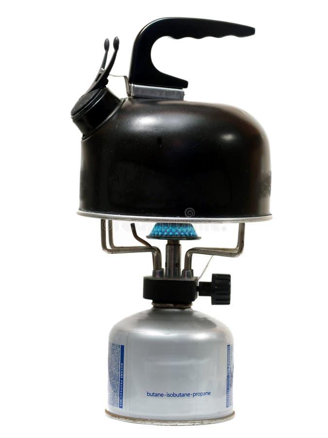 野营的水壶火炉 图库摄影