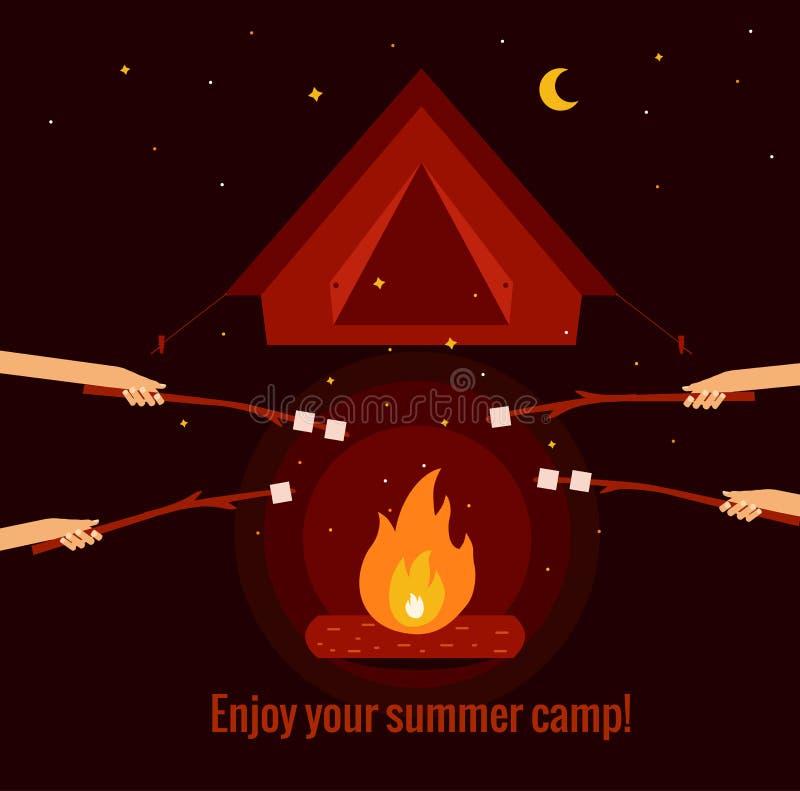 野营的火背景 向量例证