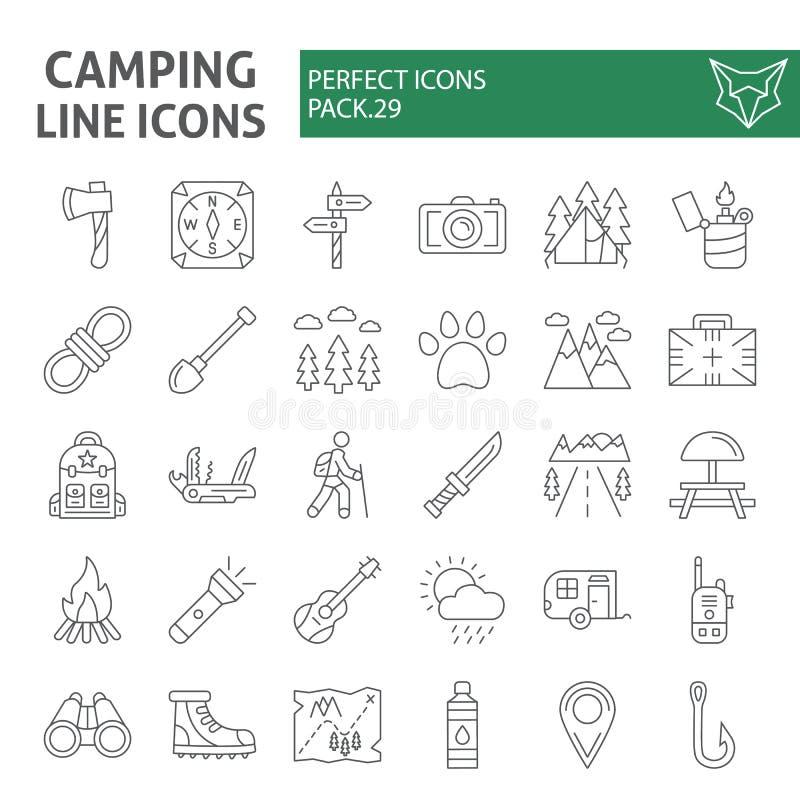 野营的稀薄的线象集合,远足标志汇集,传染媒介剪影,商标例证,线性旅行的标志 皇族释放例证