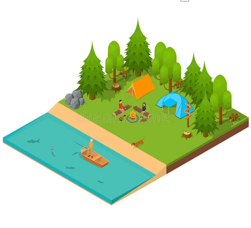 野营的等轴测图 向量 库存例证