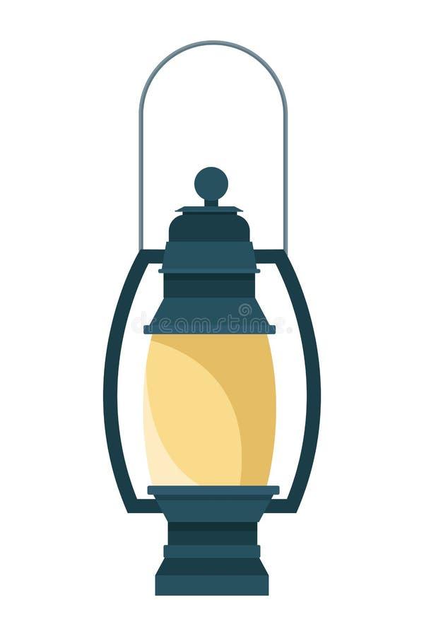 野营的葡萄酒灯笼设备动画片 库存例证