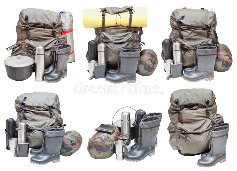 野营的设备被隔绝的不同的套 免版税库存图片