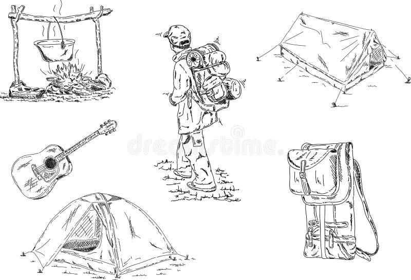 野营的集 向量例证
