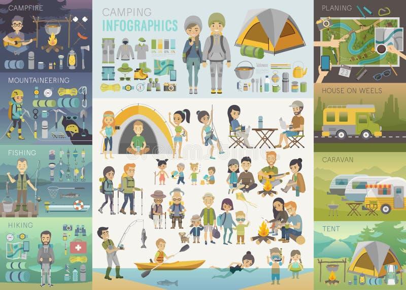 野营的Infographic设置与人和对象 库存例证