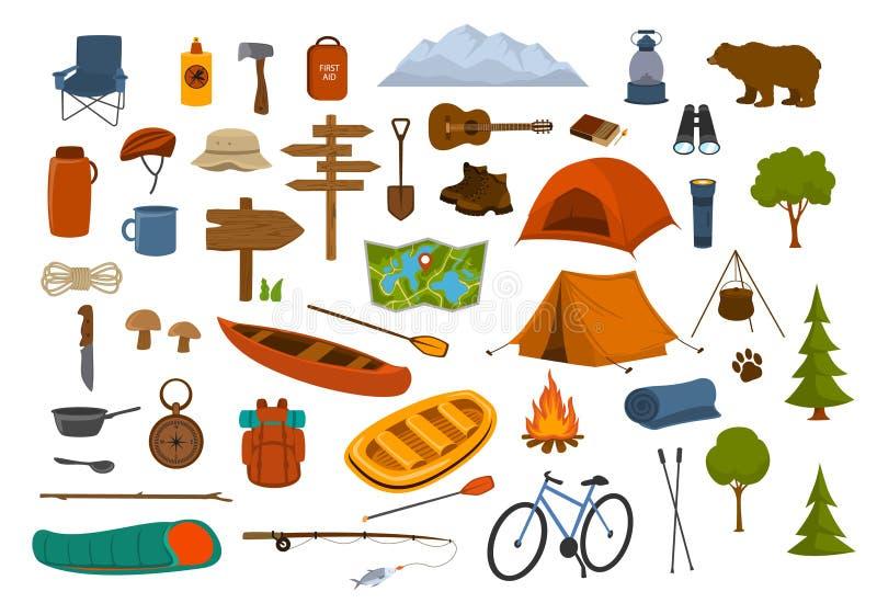 野营远足齿轮和供应图表 向量例证