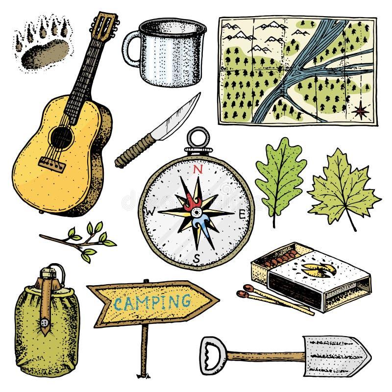 野营,室外冒险,远足 套旅游业设备 刻记手拉在老剪影,葡萄酒样式为 库存例证