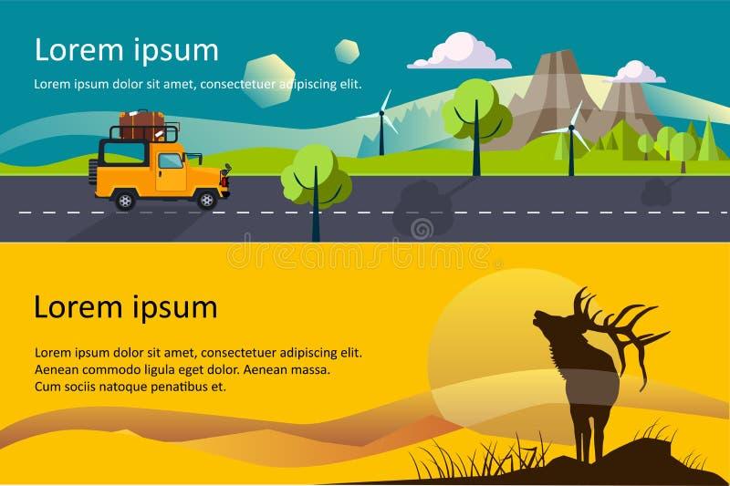 野营,远足和迁徙水平的横幅,eco旅游业,狩猎,山风景传染媒介例证 库存例证