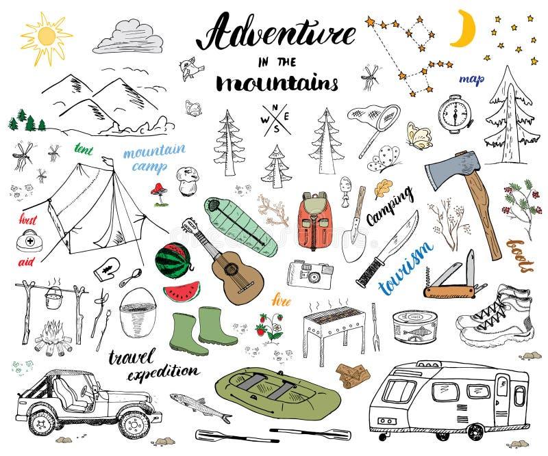 野营,远足手拉的与山的剪影乱画集合传染媒介例证,帐篷、木筏、格栅和营火、轴和刀子, pi 向量例证