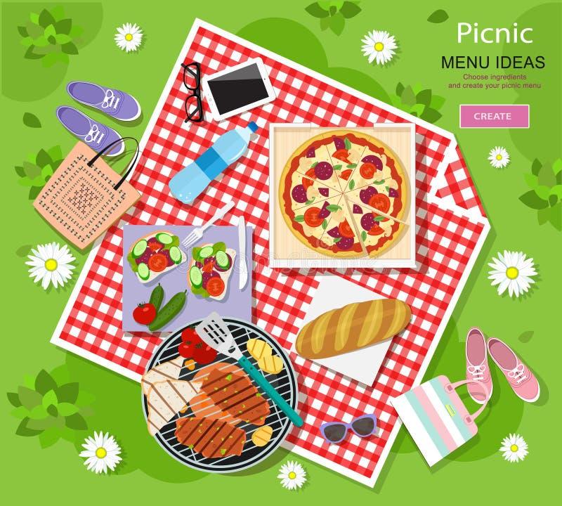 去野餐在与烤肉格栅,薄饼,三明治,新鲜面包,菜,在一块红色和白色被检查的布料的水的暑假 皇族释放例证