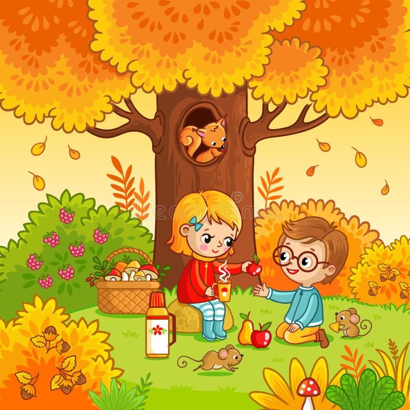 野餐在有孩子的森林里 皇族释放例证