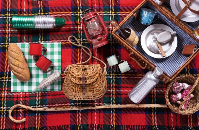 野餐工具的分类在格子呢地毯的 免版税图库摄影