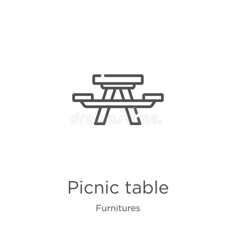 野餐桌从家具汇集的象传染媒介 稀薄的线野餐桌概述象传染媒介例证 概述,稀薄的线 库存例证