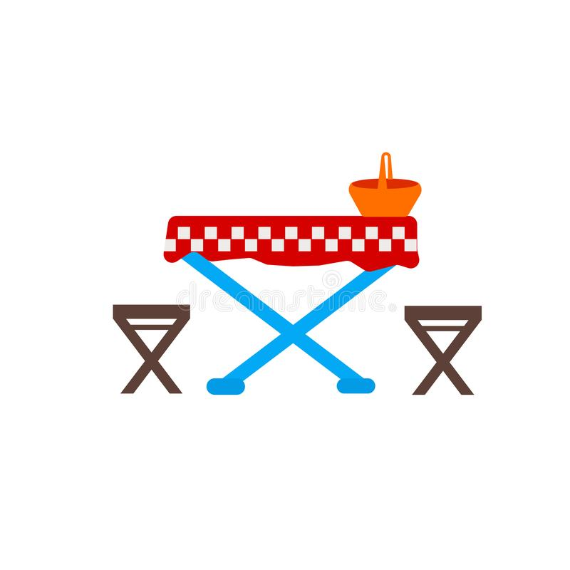 野餐桌象在白色背景和标志隔绝的传染媒介标志,野餐桌商标概念 库存例证
