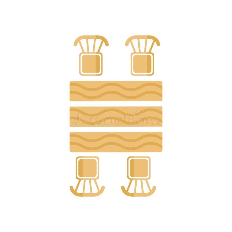 野餐桌象在白色backg和标志隔绝的传染媒介标志 向量例证
