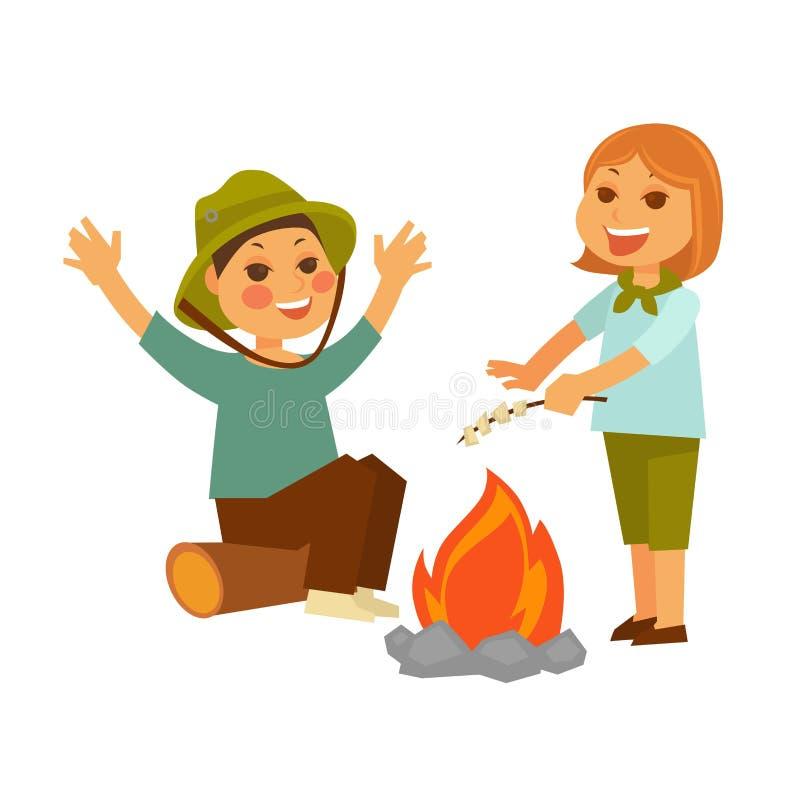 野餐的孩子在有营火和蛋白软糖的森林里 皇族释放例证