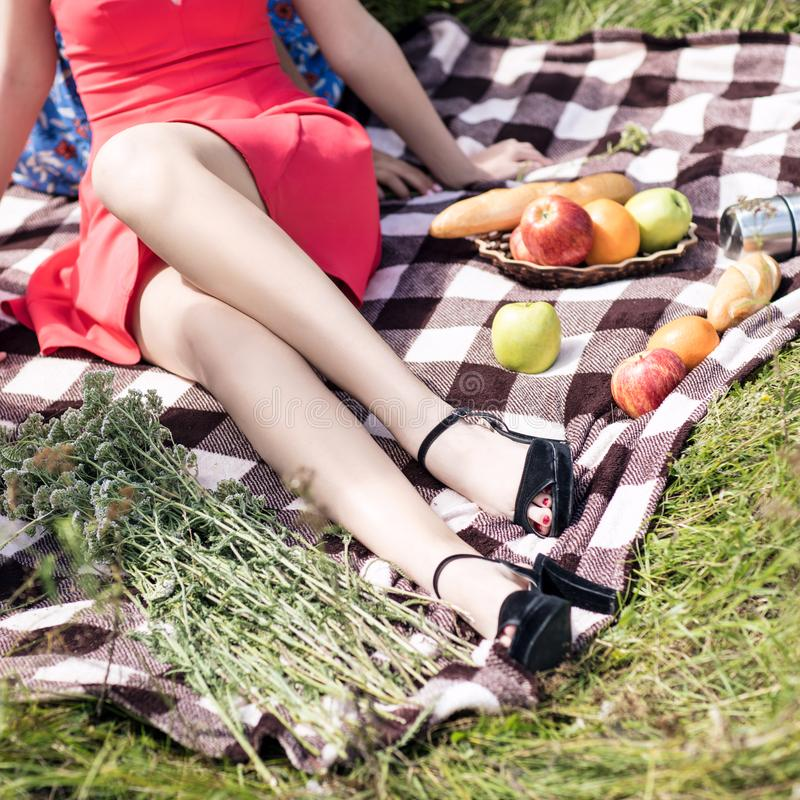 野餐的少妇用果子在夏天绿化公园 库存照片