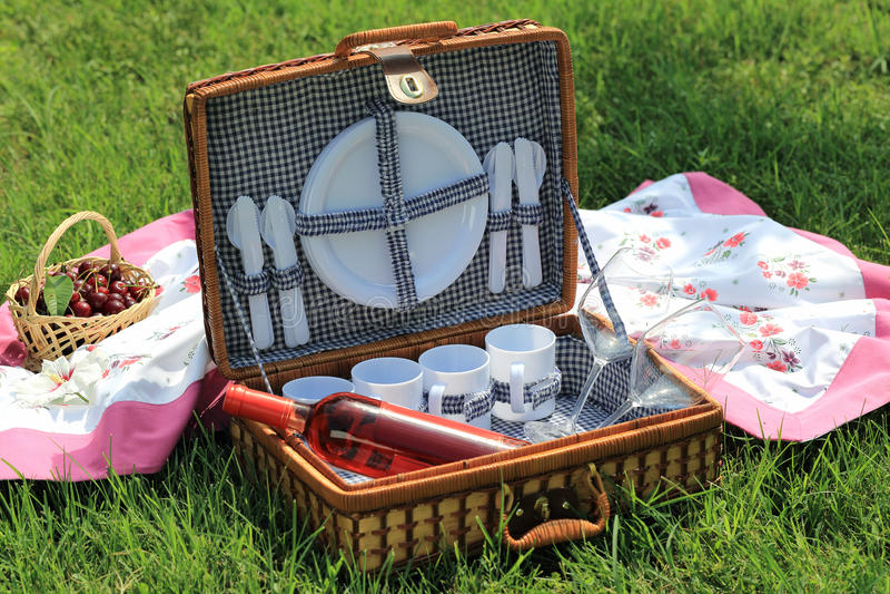 野餐篮子在庭院里 图库摄影