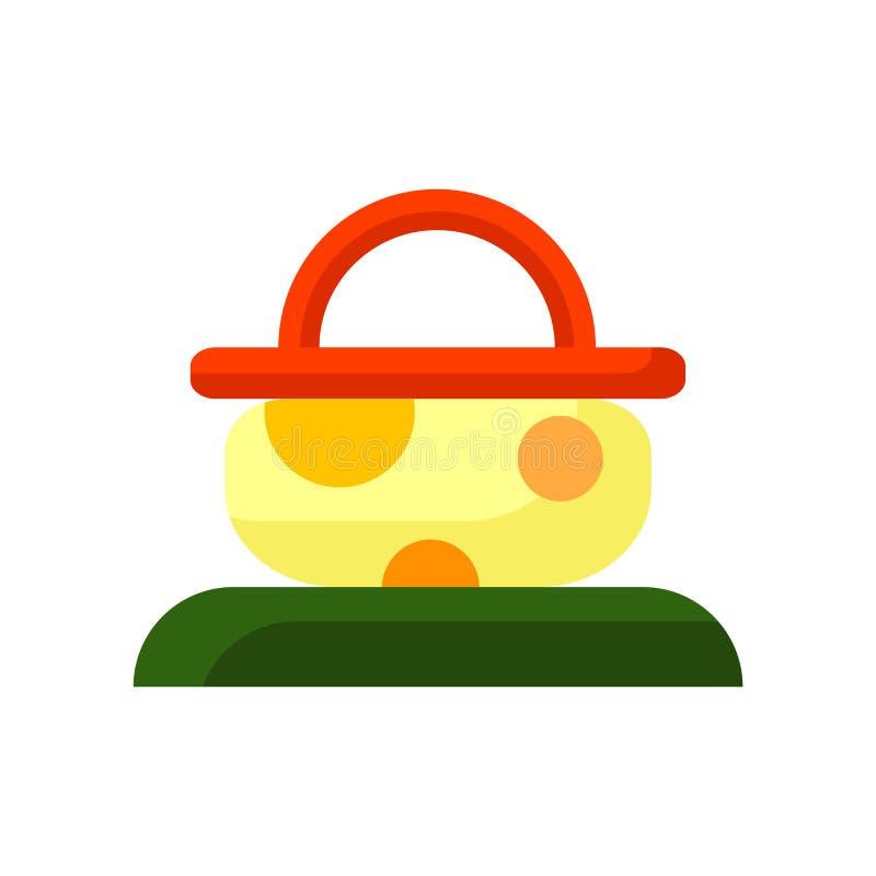 野餐篮子在白色背景隔绝的象传染媒介,野餐篮子标志,五颜六色的标志 皇族释放例证