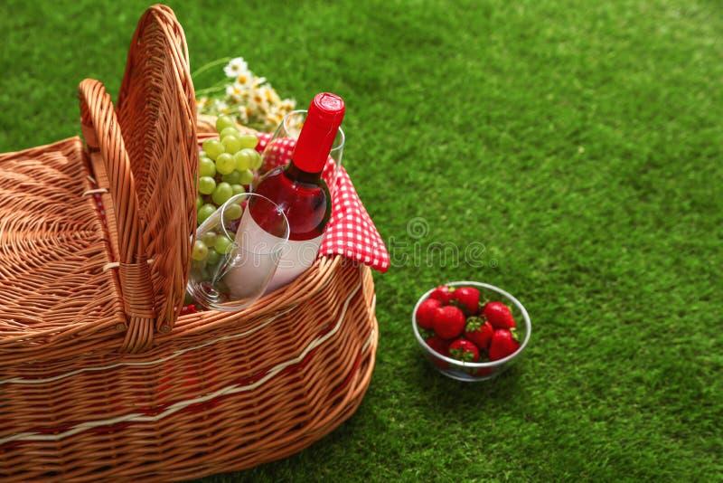 野餐篮子用酒和果子在草 库存照片