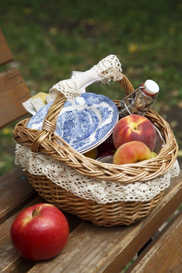 野餐篮子 免版税库存照片