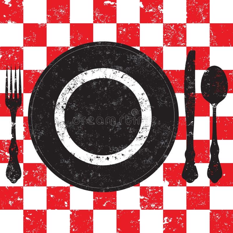 野餐餐位餐具 向量例证