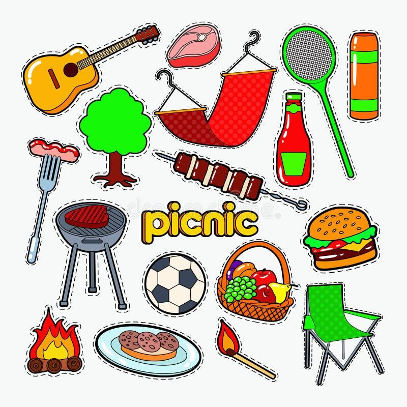 野餐BBQ党乱画 烤肉和格栅补丁、徽章和贴纸 库存例证