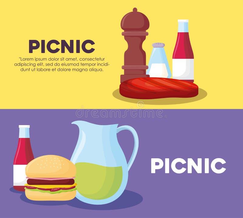 野餐infographic设计 皇族释放例证