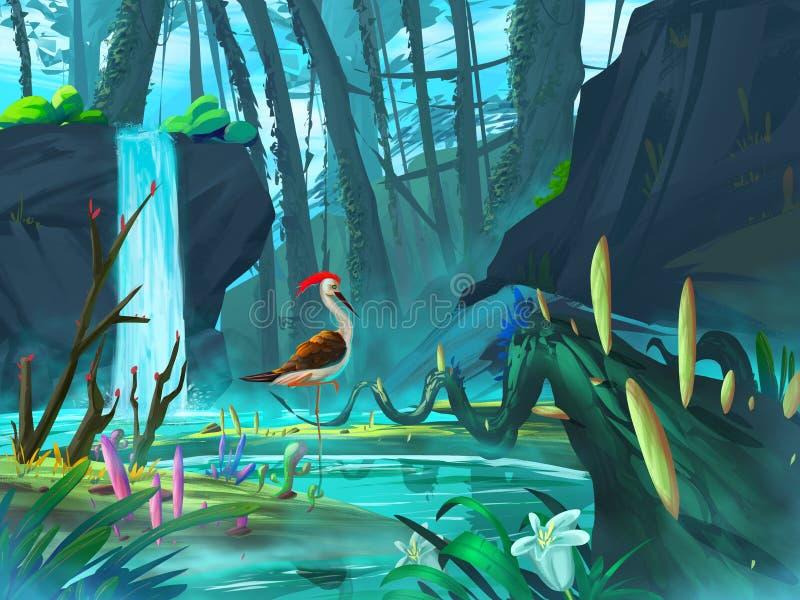 野鸡在有意想不到,现实和未来派样式的瀑布森林里 库存例证