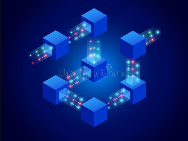 量子计算机、blockchain、IT技术或者编制程序的等量概念 在网际空间的信息块 皇族释放例证