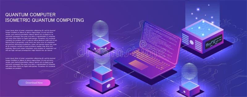 量子计算机的技术等量infographic设计, 向量例证