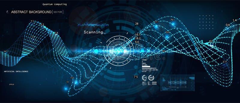 量子计算,大数据算法 皇族释放例证
