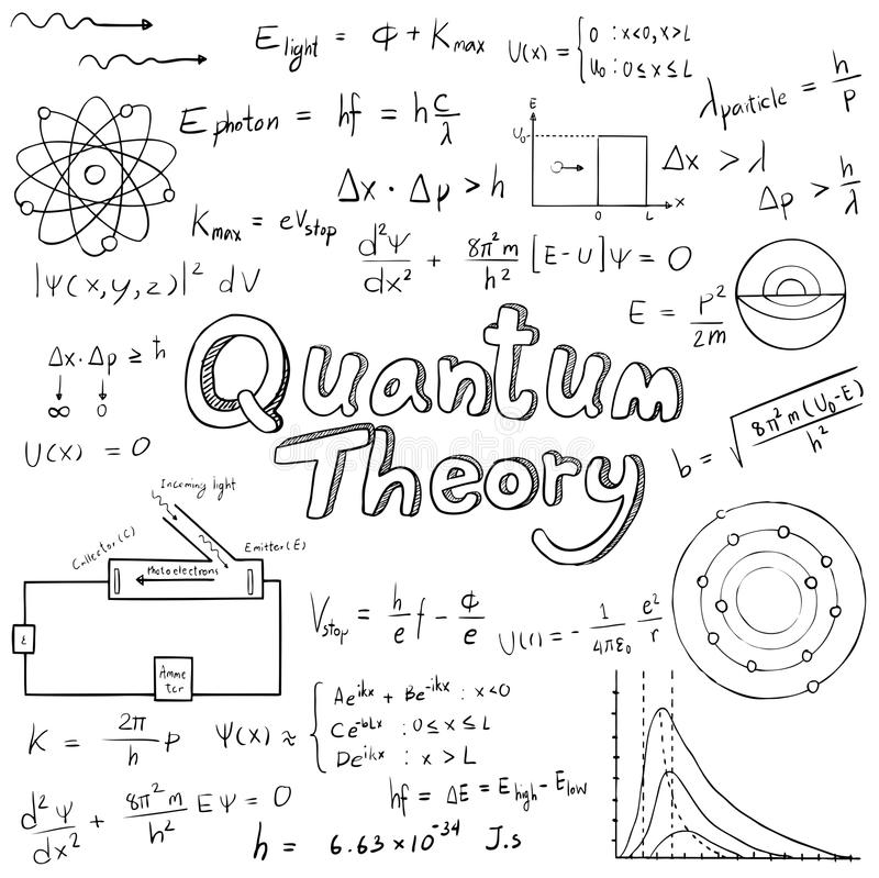量子论法律和物理数学公式等式, 皇族释放例证