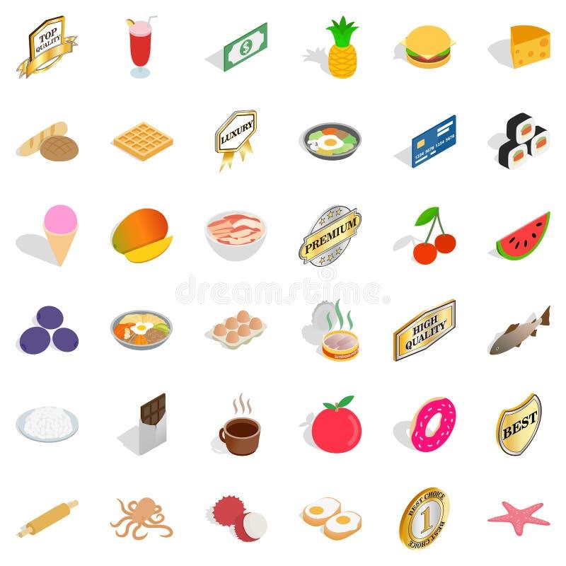 质量被设置的食物象,等量样式 向量例证