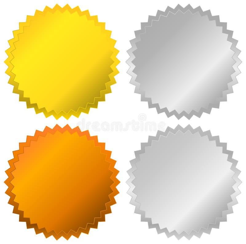 金、银、古铜和白金徽章,封印,按钮 皇族释放例证