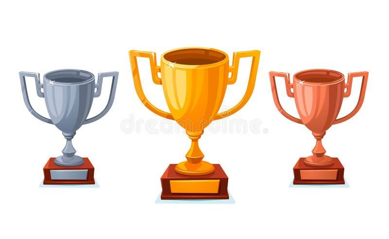 金、银和古铜在sartoon样式的战利品杯子 在白色背景隔绝的优胜者杯子第1,第2,第3个地方 向量例证