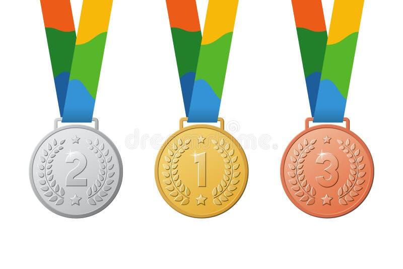 金、银&古铜运动员体育冠军奖牌 库存例证