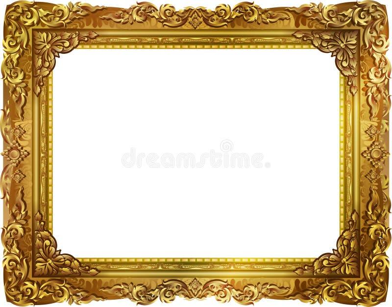 金与壁角泰国线的照片框架花卉为图片 库存照片