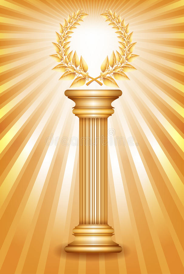 金与月桂树花圈的奖专栏 向量例证
