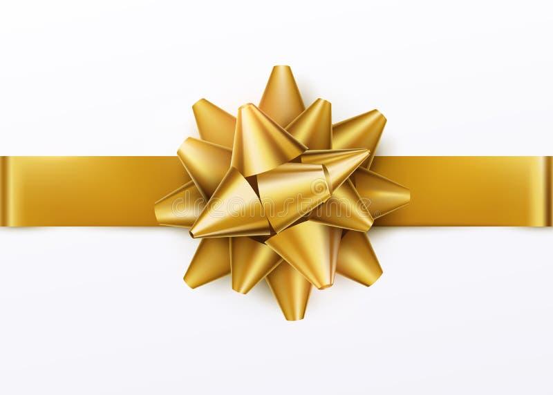 金与水平的丝带的礼物弓 背景查出的白色 向量例证