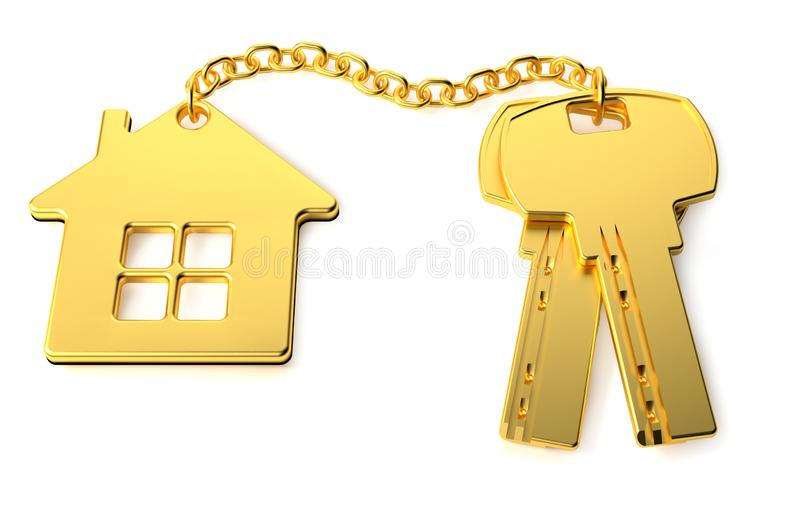 金与金在白色背景隔绝的小装饰品房子的房子钥匙 新的家庭概念 r 3d?? 库存例证