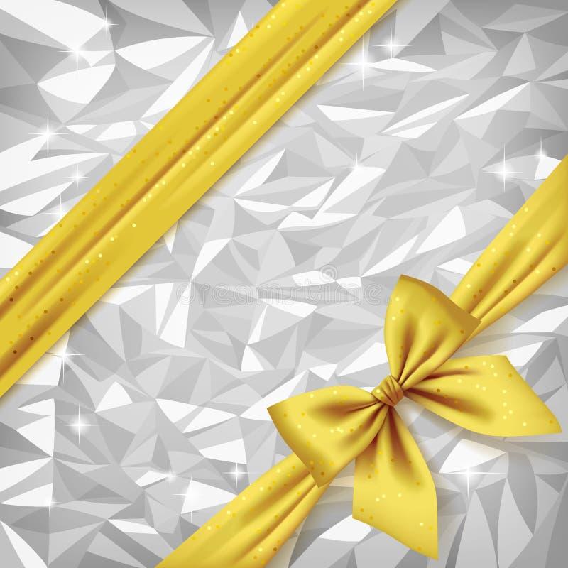 金丝带和弓在明亮的银箔构造背景 库存例证