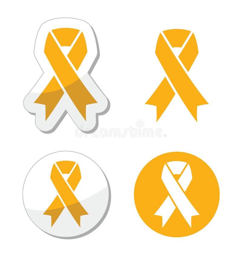 金丝带-童年癌症标志 库存例证