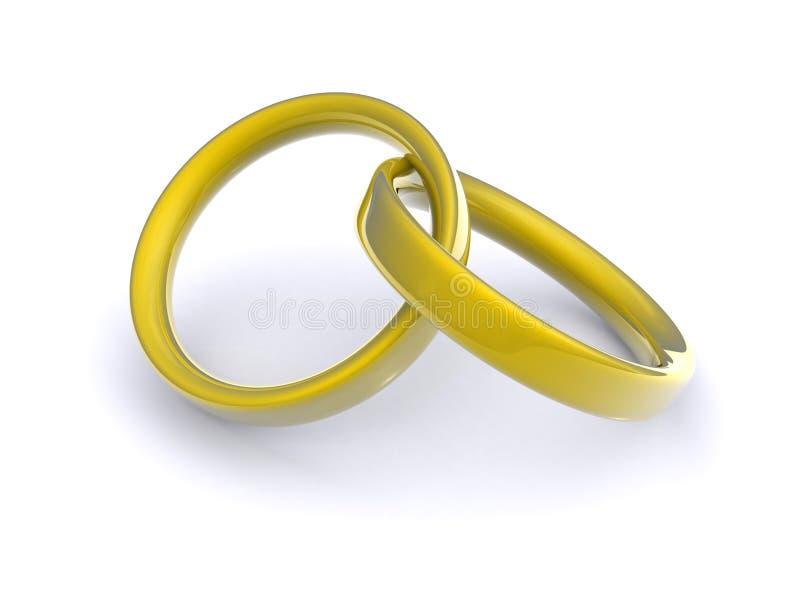 金互锁的环形 库存例证