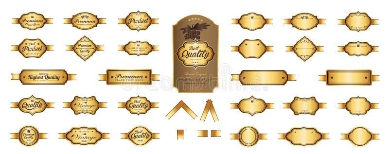 金优质豪华标签和空白的标签传染媒介设计 库存例证