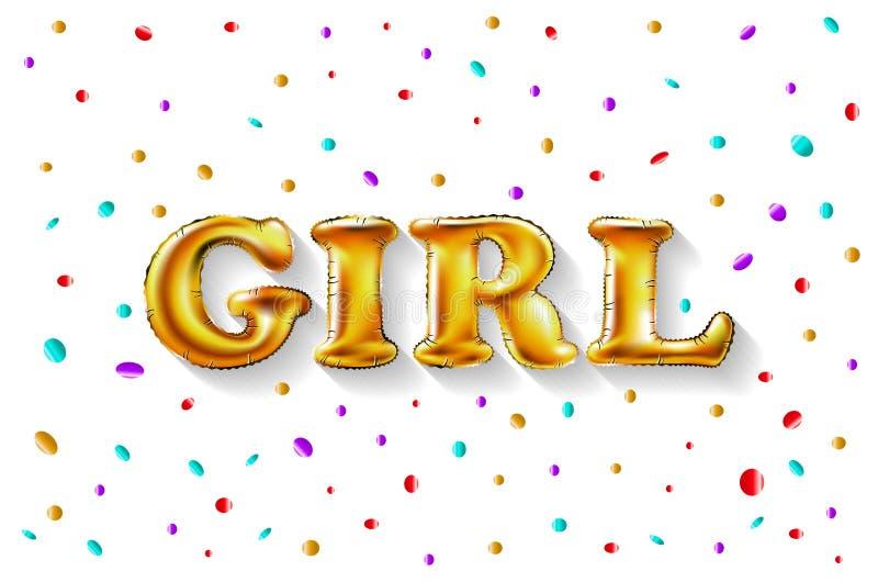 金信件女孩亮光光滑的金属气球 生日快乐字符 对庆祝,党,日期,邀请,事件,卡片, 向量例证