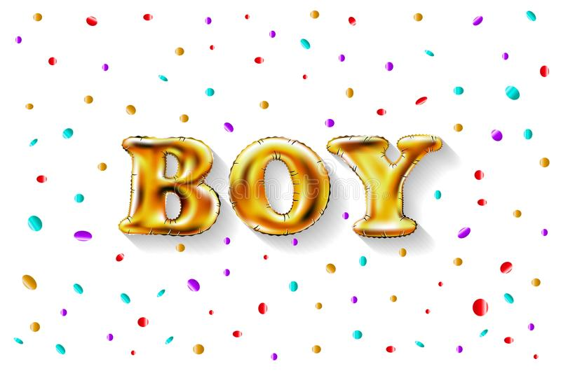 金信件男孩亮光光滑的金属气球 生日快乐字符 对庆祝,党,日期,邀请,事件,卡片, c 向量例证