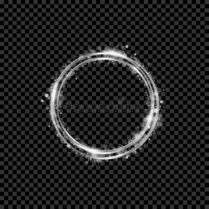 金光亮的圆的横幅 金黄的圈子 光线影响 闪闪发光环锭细纱机 也corel凹道例证向量 皇族释放例证