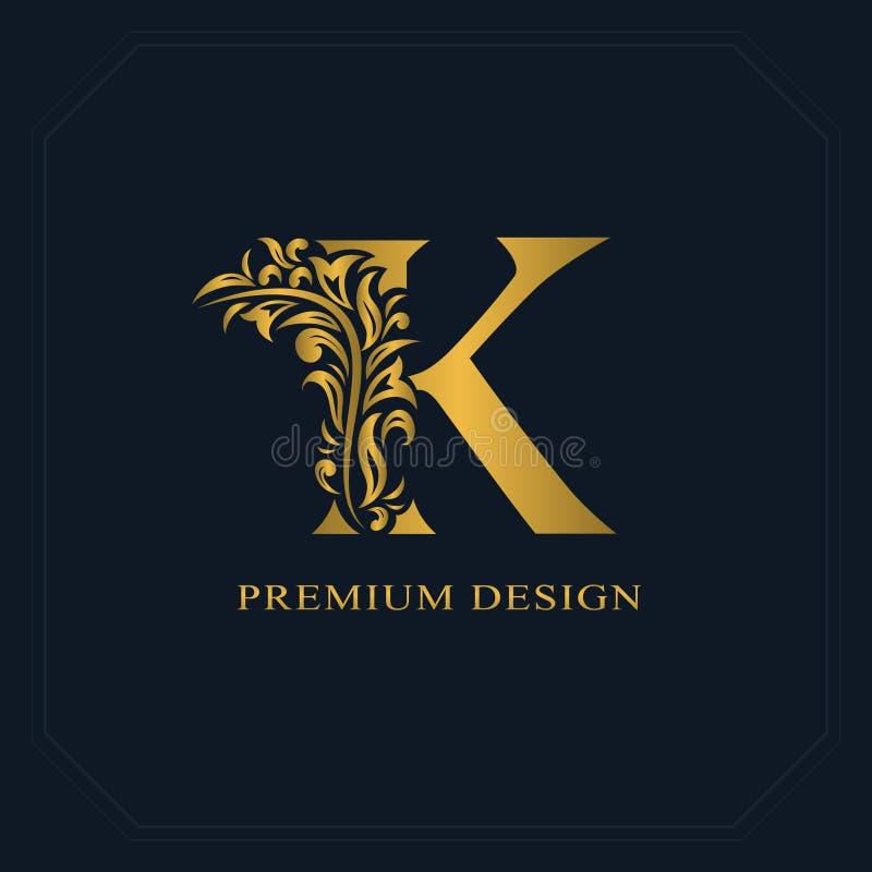 金典雅的信件K 优美的样式 书法美好的商标 葡萄酒书设计的,名牌,企业汽车被画的象征 向量例证